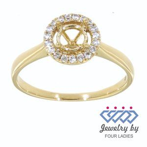 Semi Mount Halo Diamond Ring 14K Yellow Gold